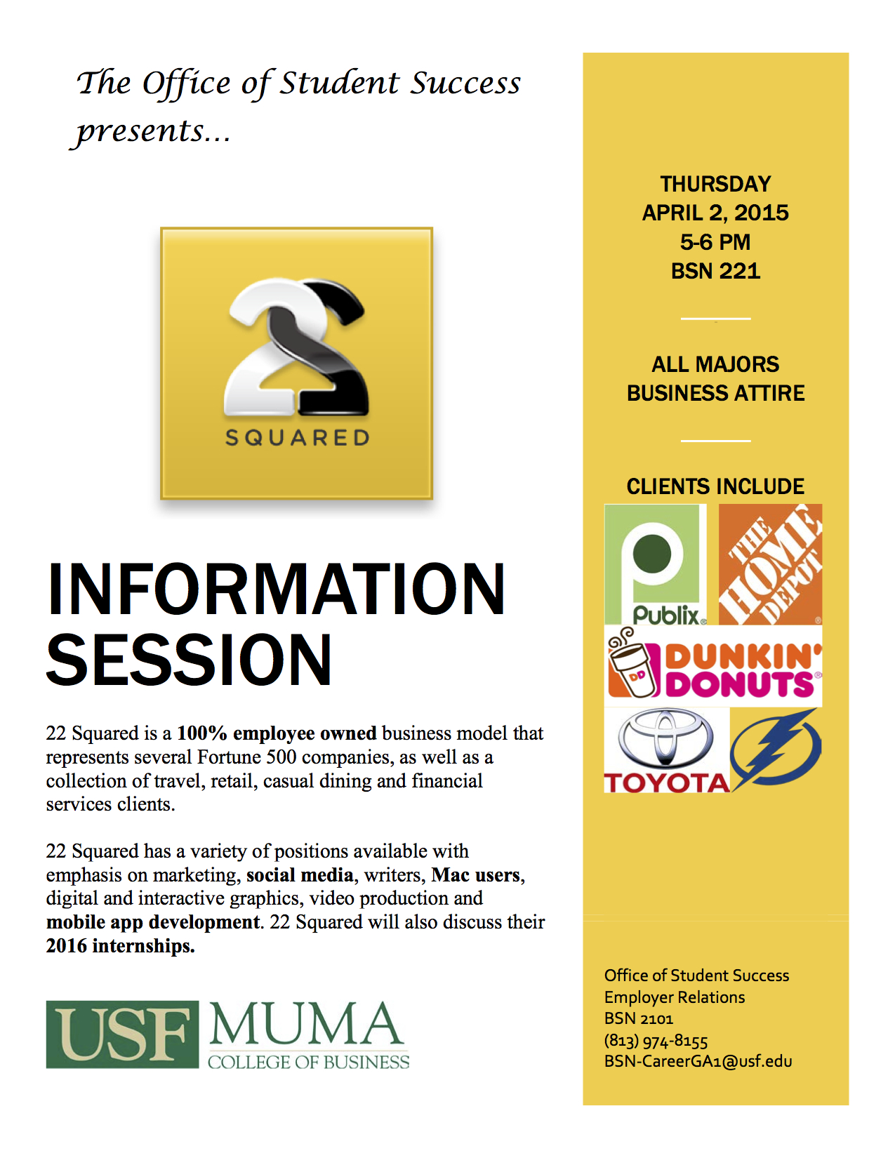 22squared Advertising Agency On Campus Thursday For